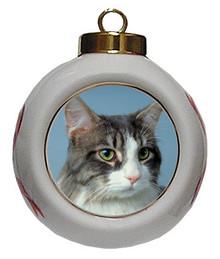 Cat Porcelain Ball Christmas Ornament
