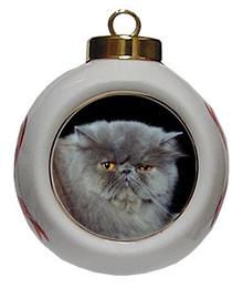 Persian Cat Porcelain Ball Christmas Ornament