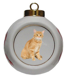 Tabby Cat Porcelain Ball Christmas Ornament
