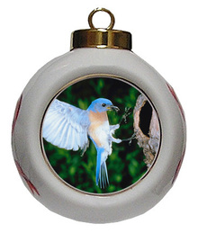 Bluebird Porcelain Ball Christmas Ornament