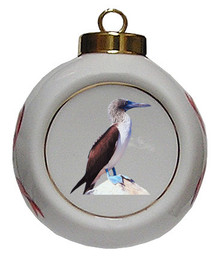 Blue Footed Booby Porcelain Ball Christmas Ornament