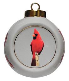 Cardinal Porcelain Ball Christmas Ornament