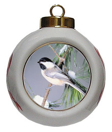 Chickadee Porcelain Ball Christmas Ornament