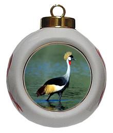 Crowned Crane Porcelain Ball Christmas Ornament