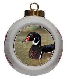 Duck Porcelain Ball Christmas Ornament