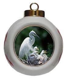 Egret Porcelain Ball Christmas Ornament