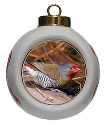 Finch Porcelain Ball Christmas Ornament