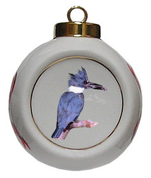 Belted Kingfisher Porcelain Ball Christmas Ornament
