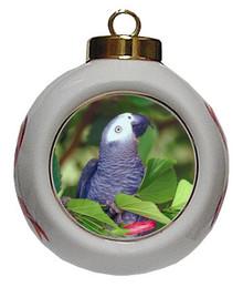 African Grey Parrot Porcelain Ball Christmas Ornament