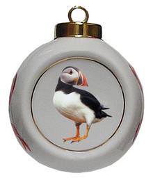 Atlantic Puffin Porcelain Ball Christmas Ornament
