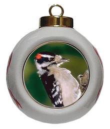 Downey Woodpecker Porcelain Ball Christmas Ornament