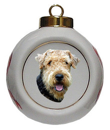 Airedale Porcelain Ball Christmas Ornament