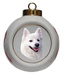 American Eskimo Dog Porcelain Ball Christmas Ornament