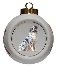 Australian Shepherd Porcelain Ball Christmas Ornament