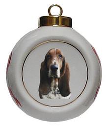 Basset Hound Porcelain Ball Christmas Ornament