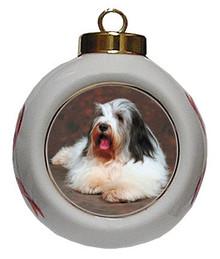 Bearded Collie Porcelain Ball Christmas Ornament