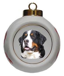 Bernese Mountain Dog Porcelain Ball Christmas Ornament