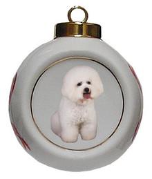 Bichon Porcelain Ball Christmas Ornament