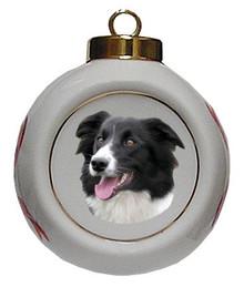 Border Collie Porcelain Ball Christmas Ornament