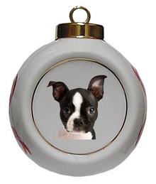 Boston Terrier Porcelain Ball Christmas Ornament