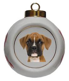 Boxer Porcelain Ball Christmas Ornament