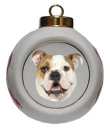 Bulldog Porcelain Ball Christmas Ornament