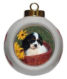 Cavalier King Charles Porcelain Ball Christmas Ornament
