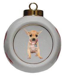 Chihuahua Porcelain Ball Christmas Ornament