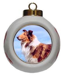 Collie Porcelain Ball Christmas Ornament