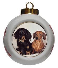 Dachshund Porcelain Ball Christmas Ornament