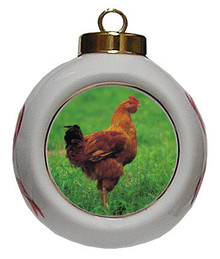 Chicken Porcelain Ball Christmas Ornament