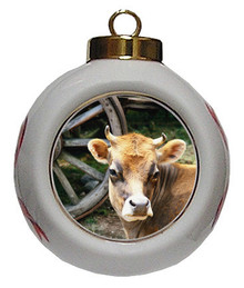 Cow Porcelain Ball Christmas Ornament
