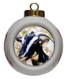 Goat Porcelain Ball Christmas Ornament