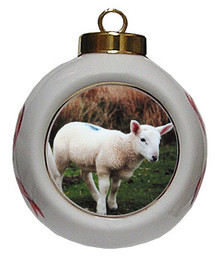 Lamb Porcelain Ball Christmas Ornament