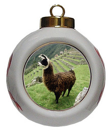 Llama Porcelain Ball Christmas Ornament