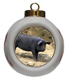 Pig Porcelain Ball Christmas Ornament
