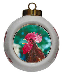 Rooster Porcelain Ball Christmas Ornament