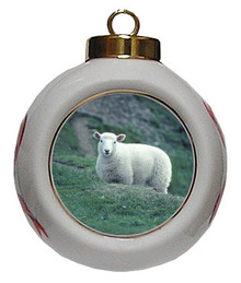 Sheep Porcelain Ball Christmas Ornament