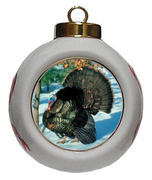 Turkey Porcelain Ball Christmas Ornament
