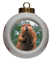 Beaver Porcelain Ball Christmas Ornament