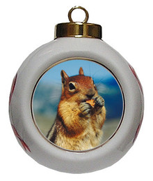 Chipmunk Porcelain Ball Christmas Ornament