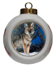 Coyote Porcelain Ball Christmas Ornament