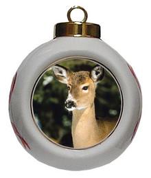 Deer Porcelain Ball Christmas Ornament
