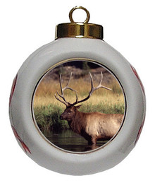 Elk Porcelain Ball Christmas Ornament
