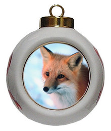 Fox Porcelain Ball Christmas Ornament