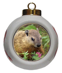 Groundhog Porcelain Ball Christmas Ornament