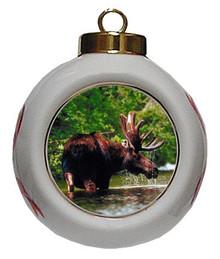Moose Porcelain Ball Christmas Ornament