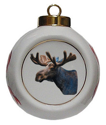 Moose Porcelain Ball Christmas Ornament