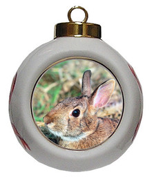 Rabbit Porcelain Ball Christmas Ornament