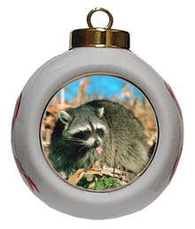 Raccoon Porcelain Ball Christmas Ornament
